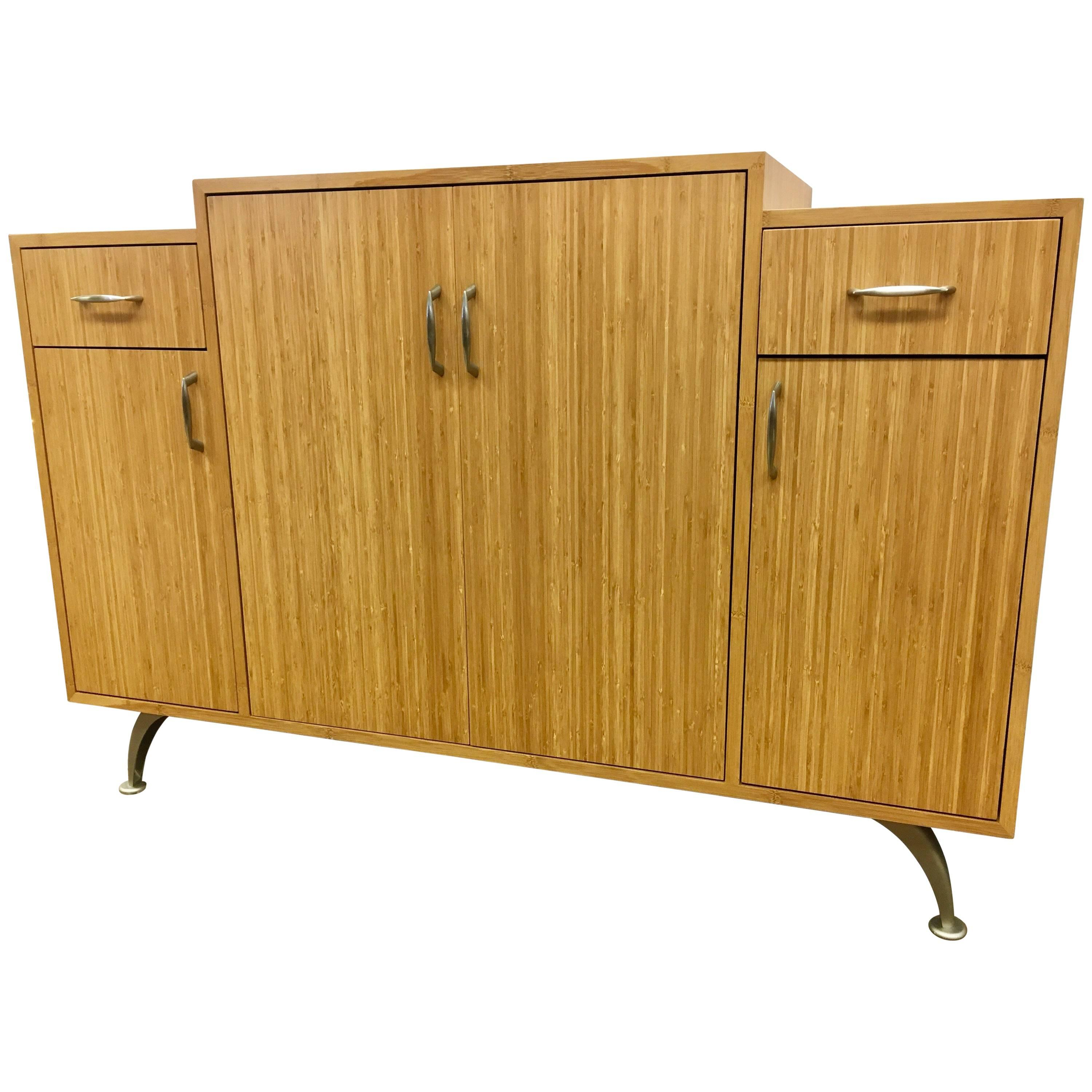 Danish Modern Bamboo Custom Server Bar Credenza Cabinet Sideboard Buffet  For Sale