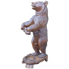 Amazing & All Hand-Carved Swiss Black Forest Standing Bear Umbrella & Cane Stand