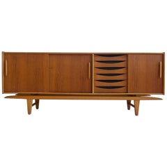 Swedish Modern Teak Sideboard with Sliding Doors and Drawers