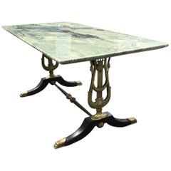 Stunning Empire Revival Coffee Table W. Bronze Swan Supports & Green Marble Top