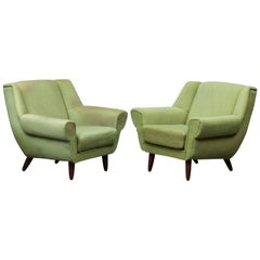 Pair of Danish Modern Armchairs of Architectural Form