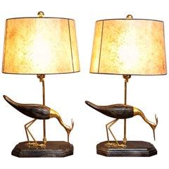 De Stijl Firenze Italian Heron Carved Strobo Wood Hand-Painted Bird Lamps, Pair