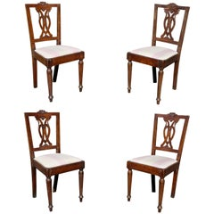 Set of Four Italian Neoclassic Walnut Side Chairs