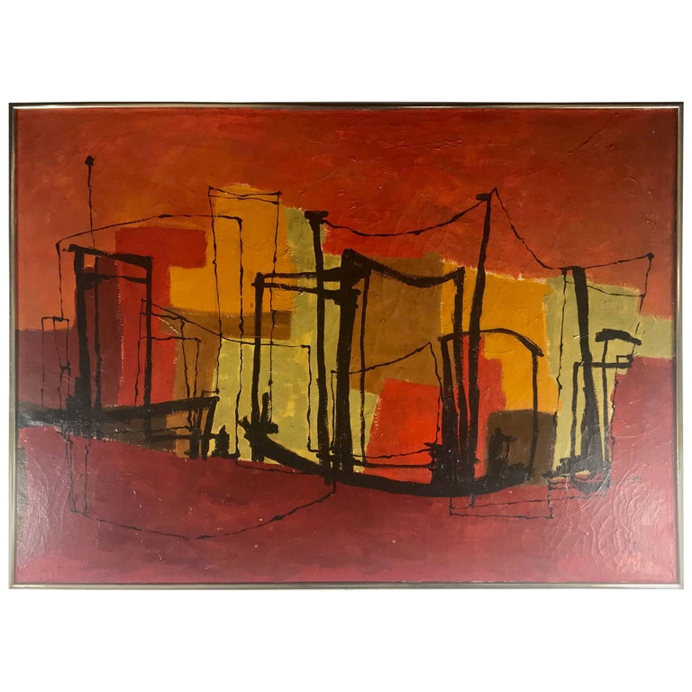 Modernist Abstract Painting, Oil on Canvas Hugh M. Neil, Buffalo N.Y