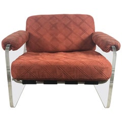 Vintage Italian Lucite Slab Sided Lounge Chair after Milo Baughman