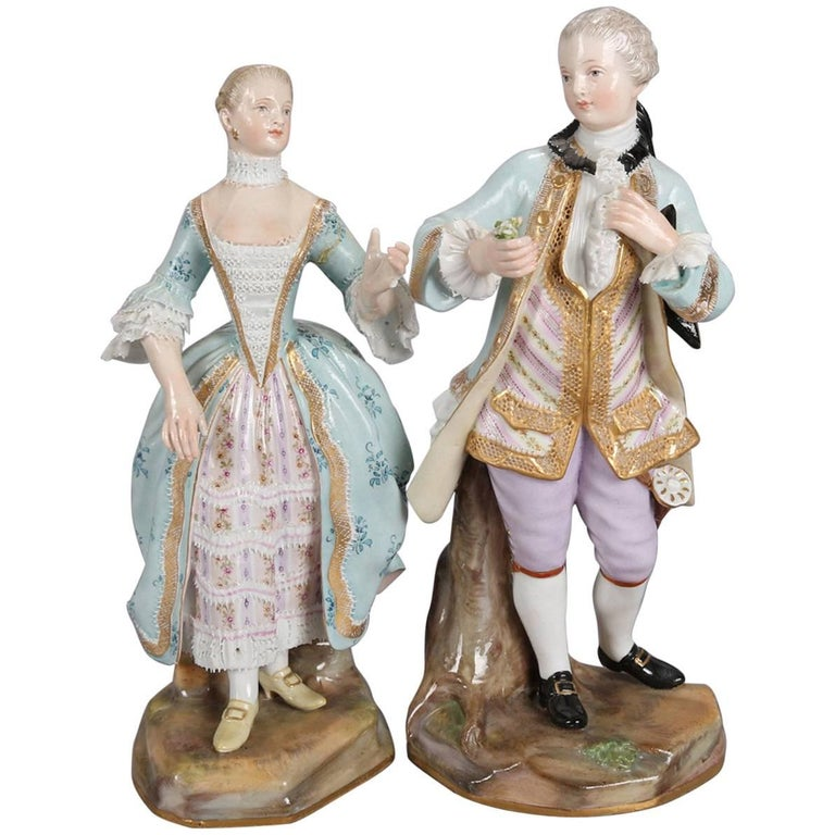 Pair of German Meissen Figural Porcelain Colonial Courting Couple, circa 1880