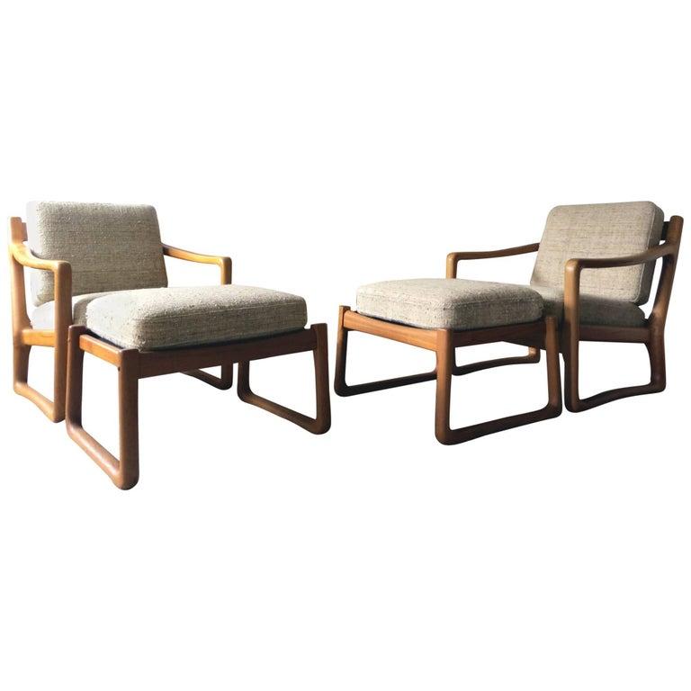 Pair of Juul Kristensen / JK Denmark Solid Teak Easy Chairs and Ottomans, 1960s