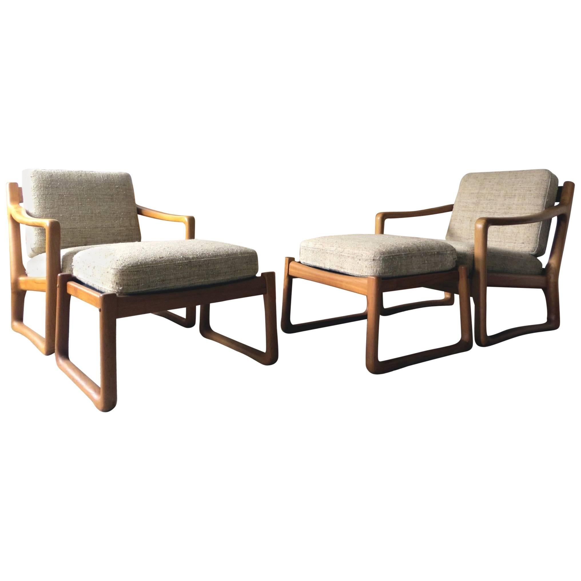 Pair Of Juul Kristensen / JK Denmark Solid Teak Easy Chairs And Ottomans,  1960s For