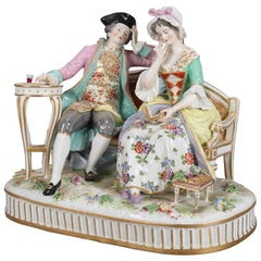 German Meissen School Porcelain Figural Group of Courting Couple, circa 1880