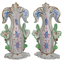 Pair of Old Paris Hand-Painted and Gilt Floral Form Porcelain Spill Vases