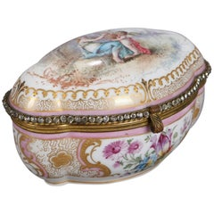 Meissen School Hand-Painted Porcelain and Gilt Bronze Dresser Box, 20th Century
