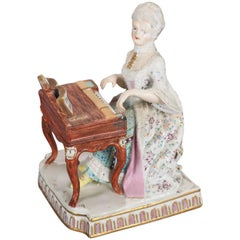Antique German Meissen Figural Hand-Painted & Gilt Porcelain Pianist, circa 1880