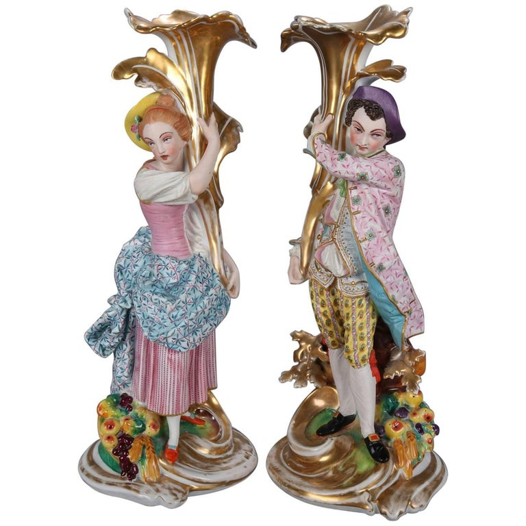 Pair of French Old Paris Hand-Painted and Gilt Porcelain Figural Spill Vases