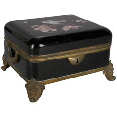 Oversize Victorian Enamel Glass Dresser Box with Figural Gilt Bronze Mounts