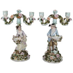 Pair of German Dresden Figural Hand-Painted and Gilt Porcelain Candelabra