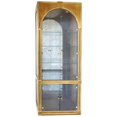 Mastercraft Furniture Brass & Glass Cabinet with Domed Glass Doors & Aged Mirror