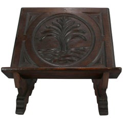 18th Century Antique Pine Hand-Carved Tree of Life Bible Stand