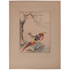 "Japanese Watercolor Painting ""Gold Pheasants"" by Hobum, Chop Mark Signed"