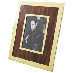 Italian Designer MB Modernist Aluminum and Wood Picture Photo Frame