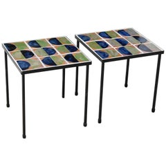 1950s French Wrought Iron and Ceramic Tile Side or Coffee Table, a Pair