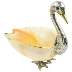 Italian Gabriella Binazzi 1970s Giant Seashell Silver Plate Swan Bowl Sculpture