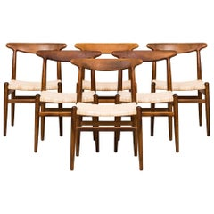 Hans Wegner Dining Chairs Model W2 by C.M Madsen in Denmark