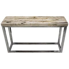 Petrified Wood Console Stainless Steel Base