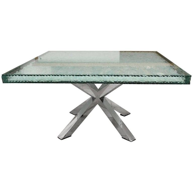 Modern Coffee Table with Glass Crystals, Stainless Steel Base