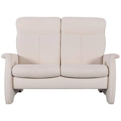 Himolla Fabric Sofa Off-White Two-Seat Couch Recliner