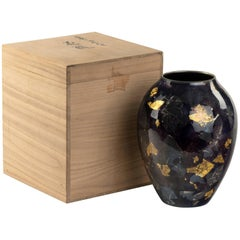 Silver and Gold Leaf Cloisonné Vase by Sukiku