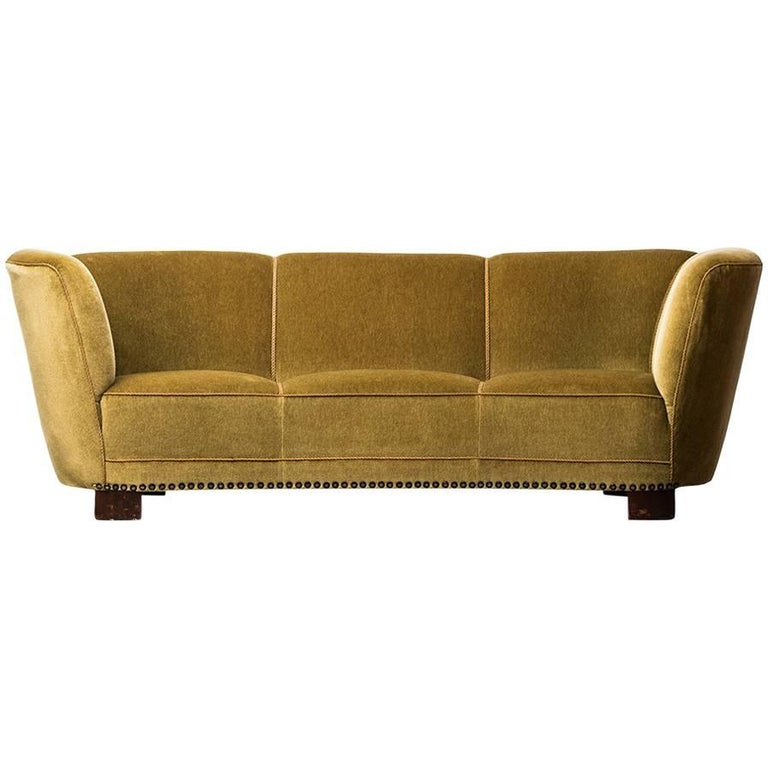 Large Curved Sofa in Green / Yellow Velvet Produced in Denmark