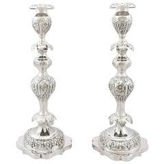Edwardian Sterling Silver Shabbat Candlesticks