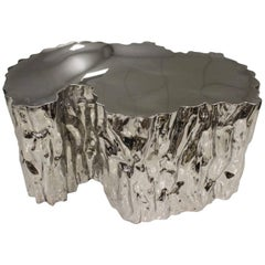 """Modern """"Iceberg"""" Coffee Table in Polished Stainless Steel"""