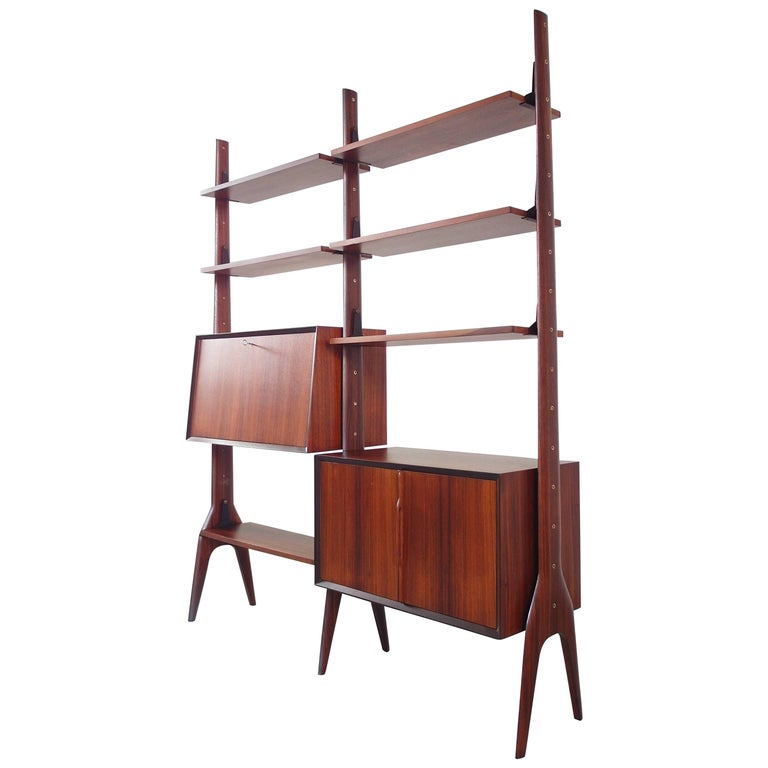Italian Freestanding Shelving Unit with Sculptural Organic Details, circa 1955