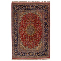 Classic Persian Design Isfahan Hand Knotted Carpet Central Medallion Red Blu