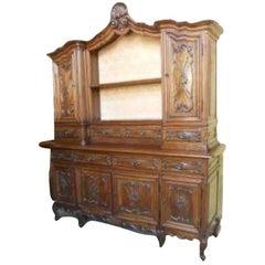 Hutch Bookcase Carved Provencale Style circa 1900, Louis XV