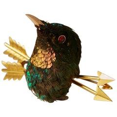 Stuffed Hummingbird Brooch, Anonymous, Early 20th Century, Victorian