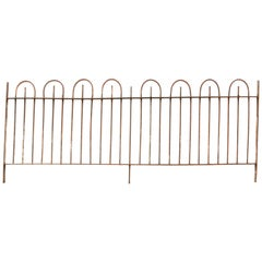 19th Century Wrought Iron Hooped Top Railings with Side Gate
