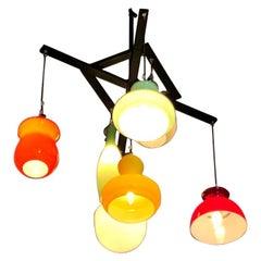 Vistosi Style Lighting Installation with Vintage Murano Glass Pendants
