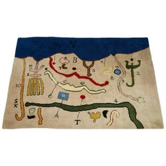"Tapestry ""Map"" Designed by Alan Davie, Scotland, 1976"