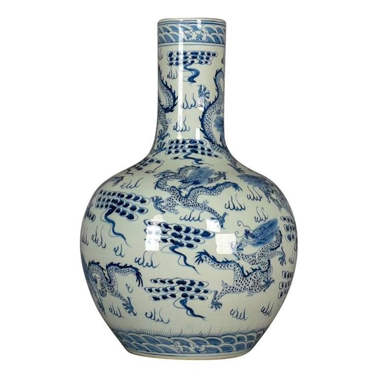 Large Vintage Chinese Bottle Vase Oriental Ceramic Jar 20th Century For