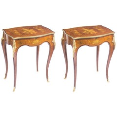 Early 20th Century Pair of Parquetry and Ormolu-Mounted Occasional Tables