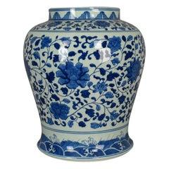 Vintage Chinese Baluster Jar, Oriental Blue and White Ceramic Vase