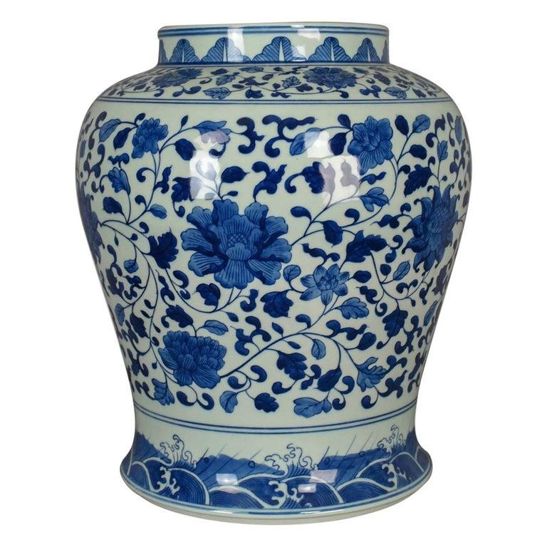 Vintage Chinese Baluster Jar Oriental Blue And White Ceramic Vase