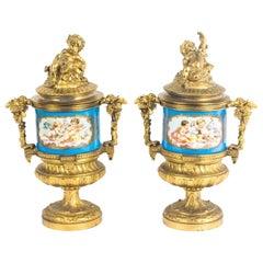 Antique Pair of Bleu Celeste Sevres Porcelain Gilt Bronze Lidded Urns