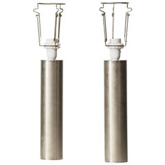 Pair of Table Lamps in Steel Produced in Sweden