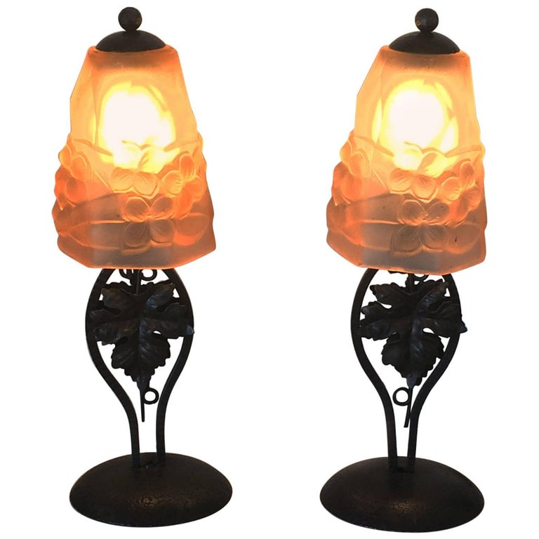 Pair of Art Deco French Lamps by Ros