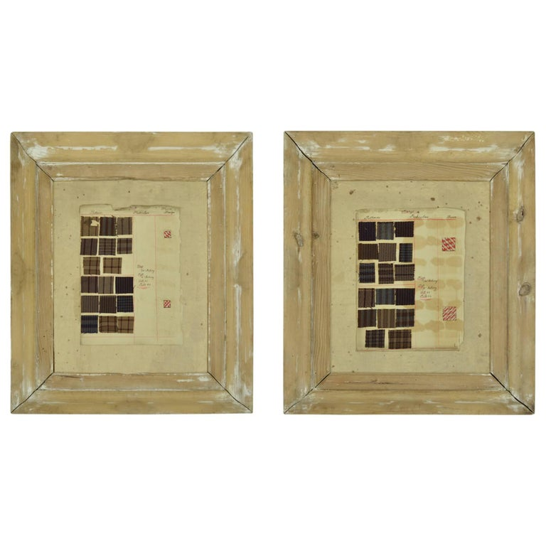 Pair Of English 19th Century Collages In Distressed Pine Frames For
