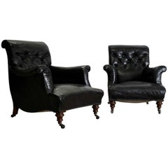Pair of 18th Century English Library Armchairs in Leather