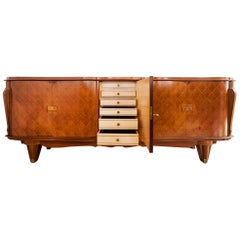 French Art Deco Rosewood Marquetry Sideboard Attributed to Jules Leleu, 1940s